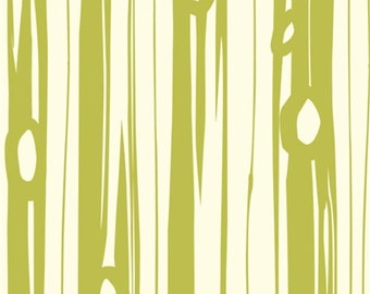 Bear Bois Grass by Jay-Cyn Designs for Birch Fabrics - 1/2 Yard - Bear Camp - Birch Organic - Organic Cotton  - Lime Green Woodgrain Fabric