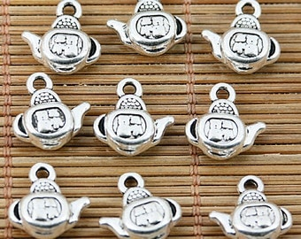 24pcs tibetan silver 2sided Chinese-word lucky FU teapot charms EF1469