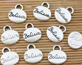 24pcs tibetan silver tone oval shaped Believe lettering charms EF1512