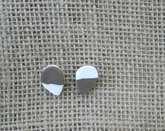 Brown and White Color Dipped Teardrop Polymer Clay Earrings