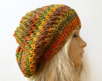Sale Women Hand Knitted Slouch Hat, Large Slouchy Knitted Dread Hat, Green Gold Orange Slouchy Beanie, Women's Slouchy Hats, Clickclackknits