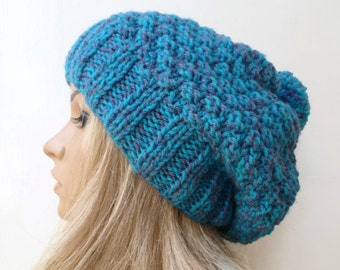 Hand Knitted Slouchy Pom Pom Hat, Women's Large Slouchy Knitted Pom Pom Hat, Blue Lilac Chunky Bobble Hat, Clickclackknits