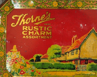 1930 great lithography Antique toffee candy tin Made in England Home Decor storage.sigh so lovely THORNS COTTAGE chic Red Black Green Gold