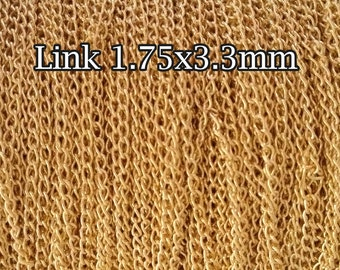 3FT(90cm) Gold filled chain, Curb chain link 1.75mm, gold Curb Cable chain, unfinished gold fill Cable chain Curb sold by foot by meter
