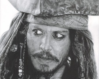 """Print of Original Pencil Drawing of Johnny Depp as Jack Sparrow from """"Pirates of the Caribbean"""""""