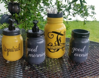 WEDDING GIFT - Custom Bathroom Set - Personalized Set - Sunshine Yellow - Gray - Choose your Colors is a option