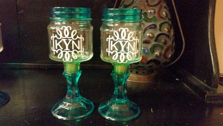 Monogrammed pair mason jar wine glasses colored glass - Stemmed mason jars ...