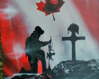Canadian Solider Memorial Spray Paint Art