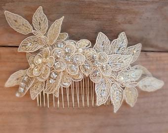 WORLDWIDE FREE SHIP Champagne bridal lace hair comb - bridal hair comb - bridal lace headpiece - bridal headpiece - wedding -