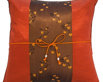 """Avarada 16X16"""" Striped Mei Floral Floral Flower Throw Pillow Cover Decorative Sofa Couch Cushion Cover Zippered Scarlet Brunt Orange Brown"""