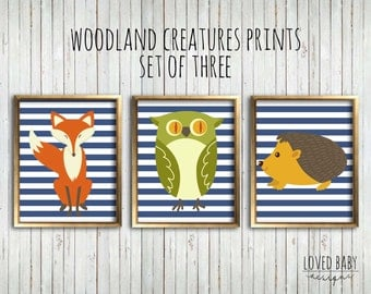 Woodland Creatures Nursery Prints, Navy Stripes, Set of Three - Instant Download, Printable