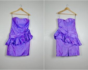 Purple Polka Dot Party Dress, Vintage Purple Party Dress, Purple Prom Dress