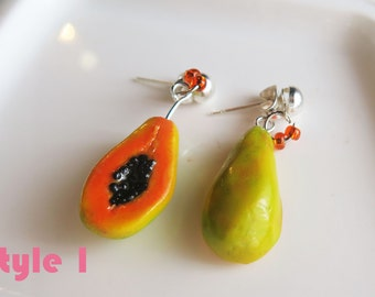 Cut Papaya Earrings - Fruit Jewelry - Fruit Earrings - Miniature Food Jewelry
