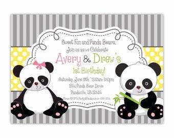 Panda Invitation - Gray Stripes Yellow Polka Dots, Little Twin Panda Bears Personalized Birthday Party Invite Poem - Digital Printable File