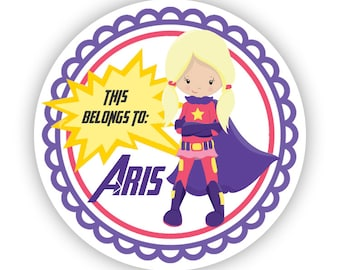 Kids Name Label Stickers - Purple Pink Super Hero, Super Girl Name Tag, Girl Superhero Personalized Name Sticker - Back to School Name Tags