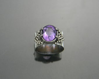Amethyst Statement Ring, February Birthstone Ring, Large Amethyst Ring, Amethyst Ring, Statement Ring, Made to Order