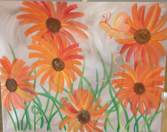 Field of Flowers & Dragonfly Stretched Canvas Floral Painting