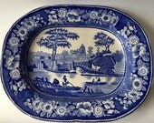 Oval antique China Blue plate, chinoserie