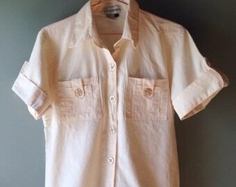Cream Cotton Blouse / size S