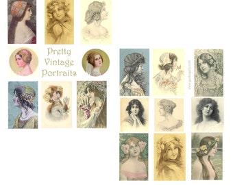 SALE>>>>>>>>>>>>Pretty Vintage Portraits Digital Collage Set<<<<<<<<<<<<<<SALE