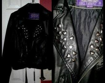 Vegan Punk Motorcycle Heart Studded Jacket S/M