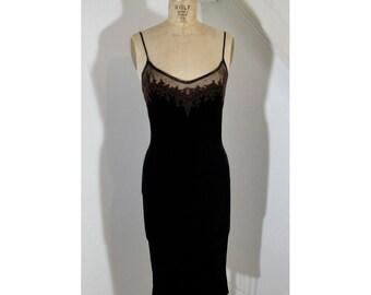 1990s Velvet Midi Dress