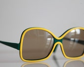 Vintage RODENSTOCK MANILA Sunglasses Oversize, Butterfly Green Yellow Frame, Brown lenses. Very Rare Piece. Made in Germany