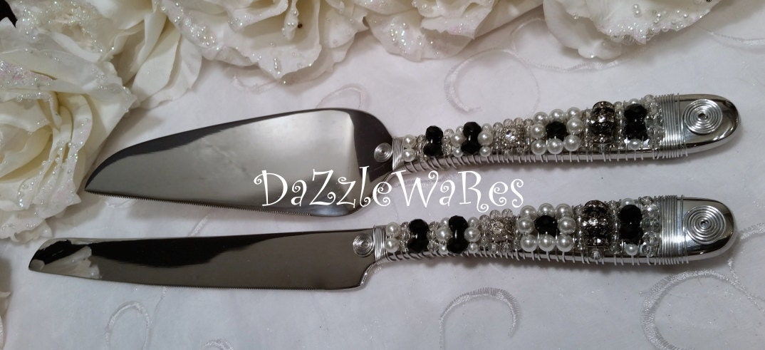 black wedding cake serving set black amp white wedding cake serving set beaded cake server 11883