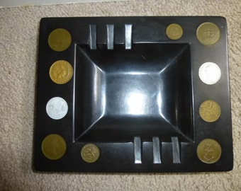Wonderful mid century modern black Couroc of Monterey coin dish - ashtray - bowl - 10 rare foreign coins from 1940s and 50s - Africa - Asia