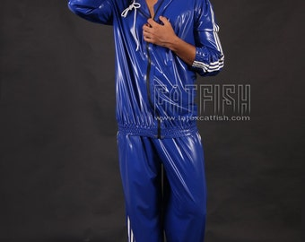 Rubber / Latex 3 Track Pant & Stripe Hoodie Sweatsuit Catsuit