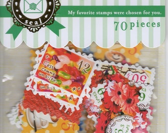 Japan Mind Wave Kawaii POSTAGE STAMPS Stickers Flake 70 pcs