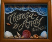 Customized Beach Sand Painting with Black Sand, Natural Seashells, and Ocean Waves