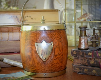 Vintage Wooden Biscuit Barrel or Ice Bucket, Porcelain Liner, Shield Cartouche, Silver Bale Handle And Lid, E.P.N.S