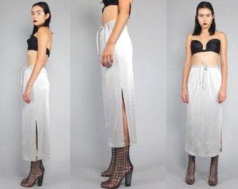 Vtg 90s Silver Metallic Futuristic Hi Cut Slit Glam Midi Skirt Gown M
