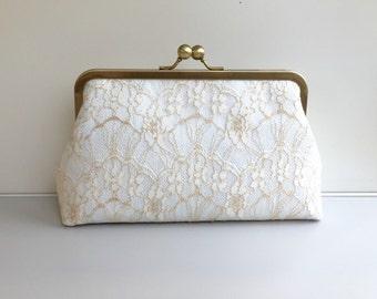 Ivory Lace Bridal Clutch, Ivory Wedding Clutch, Bridal Purse, Weddings Purse Bag, Bridesmaid Clutch Purse, Wedding Accessories, Style C012
