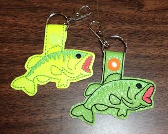 Bass fish snap tab keychain or zipper pulls