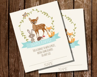 Woodland Baby Shower Diaper Raffle Cards in Teal Blue for a Boy - Teal Baby Shower- Instant Download and Edit File at home with Adobe Reader
