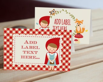 Little Red Riding Hood Tent Cards, Food Labels, Buffet Cards, Food Tags, Labels - Instant Download File - Edit and Print at Home!