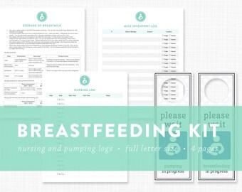 EDITABLE - Breastfeeding / Pumping Printables - breast milk storage guidelines and door hangers - Instant Download