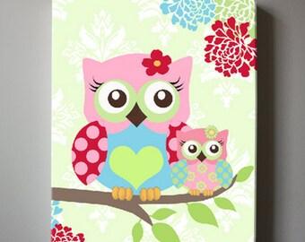 Floral Nursery Decor Owl Nursery Canvas Art - Girls wall art - OWL canvas art, Baby Girl Nursery Art , Pink and Aqua