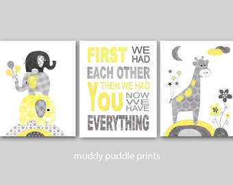 Yellow Grey Nursery prints, Nursery decor, Nursery art, Yellow, Grey, Elephant, Giraffe, Quote - Yellow first we had each other