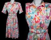 Vintage 80's S.L. PETITES Floral Short Sleeved Dress S/M
