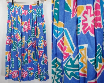 "Vintage 80's FUNDAMENTAL THINGS Colorful Pleated Skirt 28"" Waist"