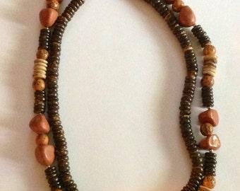 Vintage Earthtone Boho Double Strand of Beads