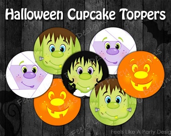 Halloween Cupcake Toppers - Instant Download