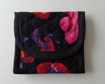 Black Red Pink Purple Hats Quilted Wallet