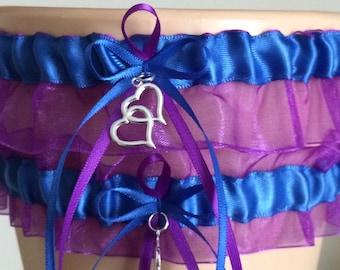 Wedding Garter Set, Bridal Garter, Royal Blue and Purple Organza Garter Set, Keepsake Garter, Prom Garter, Weddings