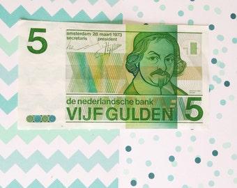 Vijfje- five guilder billet 1973/4836821148 - Dutch money- paper money-The Netherlands- old cash money- green white paper-Sweetlakevintage