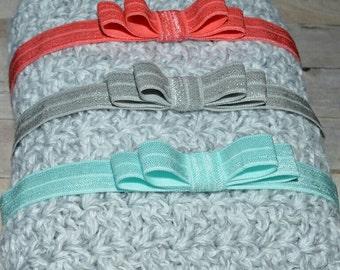 Bow Headband Coral Aqua Silver Set of 3 Baby Toddler Headband Flower Girl New Years Elastic Polka Dot Metallic Valentines