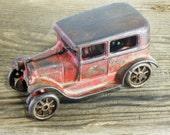 Arcade 118 Toy Sedan Car, Model A, Original Red, Original, ca 1920s, Collectible Antique